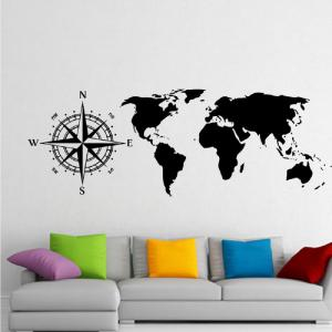 DSU nautique boussole Scratch World Map Stickers muraux Home Decor Salon Art Mural -