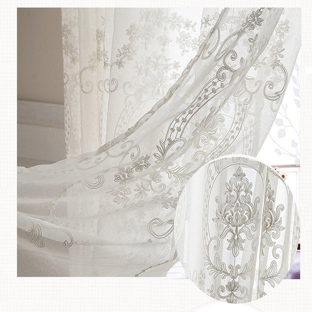 Trendy European Embroidered White Yarn  High Grade Embroidery Window Yarn 140cmx265cm