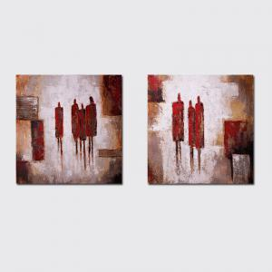 QiaoJiaHuaYuan No Frame Canvas Salon Canapé Contexte Décoration Suspendu Image Simple et Abstrait Double - Linke -