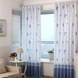2pcs 100cm x 200cm Home Simple Lovely Stars Moon Pattern Print Window Curtain -