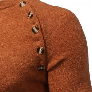 New Men's Button Stitching Solid Color Long Sleeve Knitted Sweater -