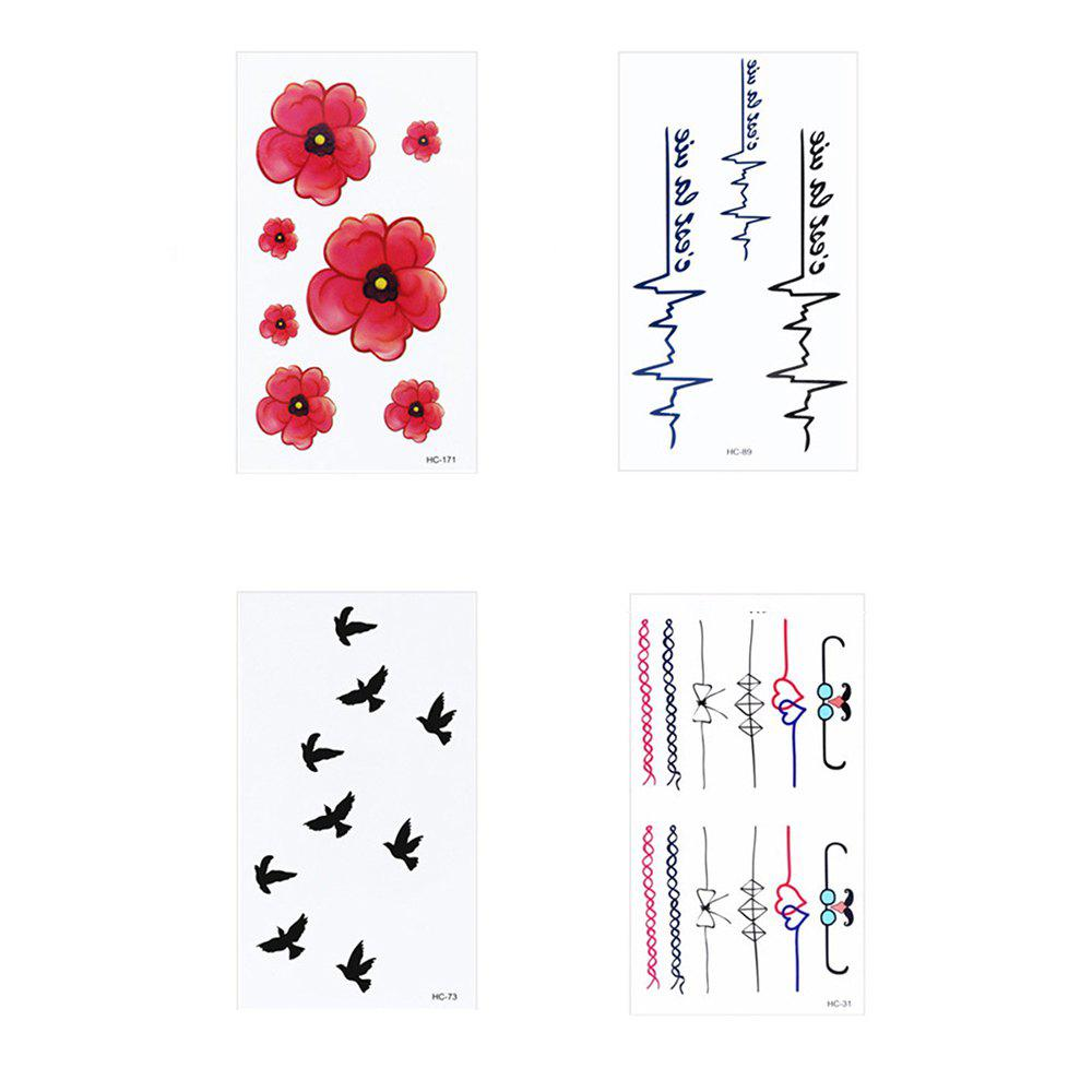 Outfit 4Pcs Women's Tattoo Stickers Fresh Style Chic Color Block Tattoo Accessory