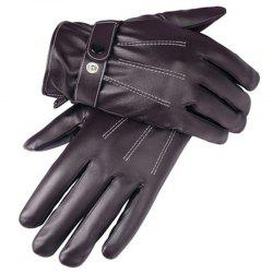 Simulation Leather PU Wash Leather Three-Way Line Gloves Autumn Winter Cycling Warm Men and Women's Gloves -