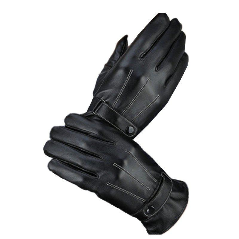 Fancy Simulation Leather PU Wash Leather Three-Way Line Gloves Autumn Winter Cycling Warm Men and Women's Gloves