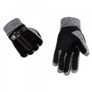 Male Winter Thickening and Wool Warm Pig Leather Gloves Leather Riding Gloves -