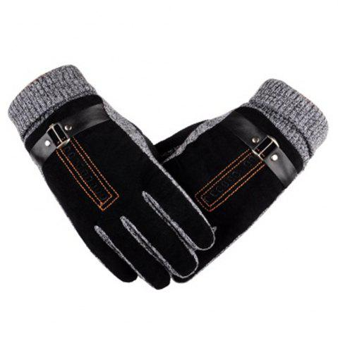 Fancy Male Winter Thickening and Wool Warm Pig Leather Gloves Leather Riding Gloves