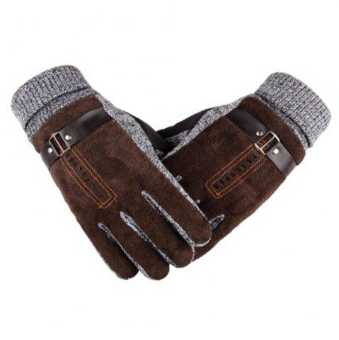Online Male Winter Thickening and Wool Warm Pig Leather Gloves Leather Riding Gloves