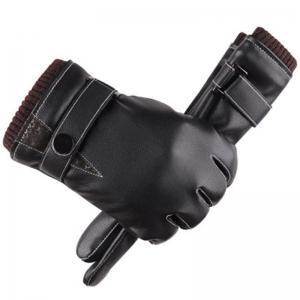 The New Hot Style Gloves Male Touch Screen Simulates Leather PU Wash Leather and Wool -