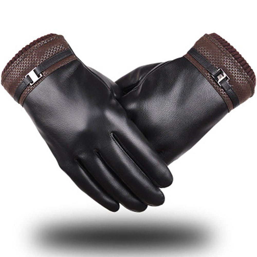 Outfits Autumn and Winter Men's Wash Skin Touch Screen Gloves PU Warm Outdoor Cycling Imitation Leather Gloves