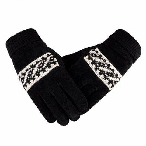 Trendy Male Winter Thickening and Wool Warm Pig Leather Gloves Leather Cycling Anti-Cold Wool Gloves