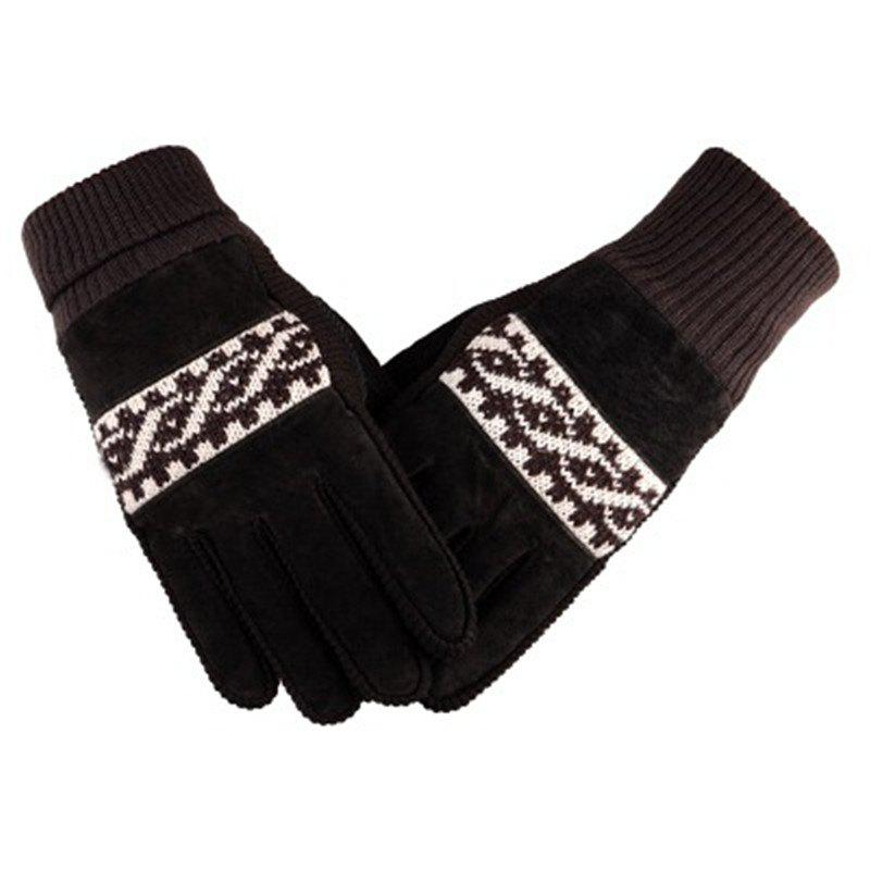 Discount Male Winter Thickening and Wool Warm Pig Leather Gloves Leather Cycling Anti-Cold Wool Gloves