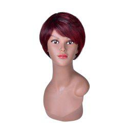 Hairyougo Red Short Synthetic Hair with Black Strip Natural Straight Heat Resistant Party Full Wig for Women -