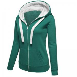 Women's Causal Color Block Cardigan Zip Hoodies Outwear -