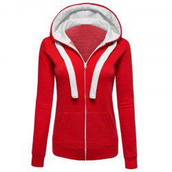 Cardigans Causal Color Block Femme Zip Hoodies Outwear -