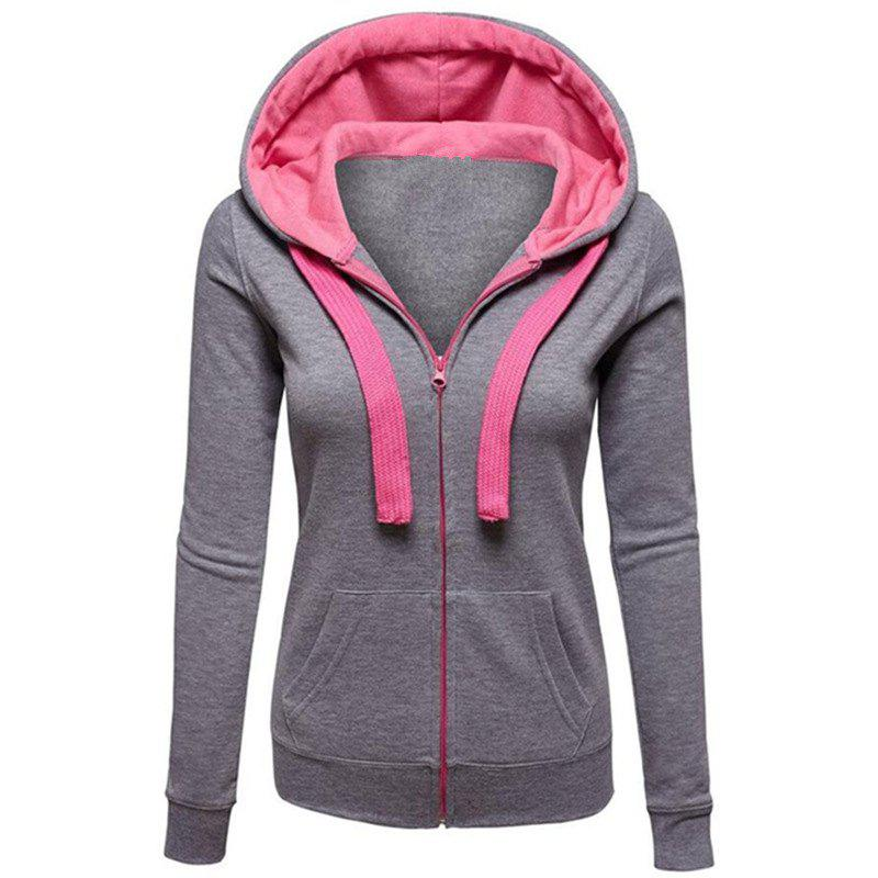 Cardigans Causal Color Block Femme Zip Hoodies Outwear