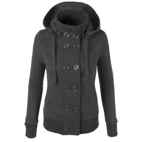 Store Causal Warm Double Breasted Solid Color Hoodie