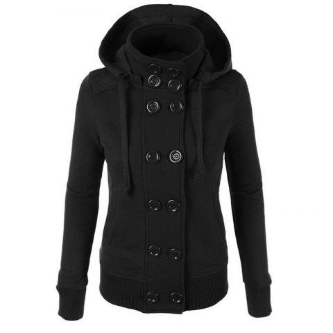 Shop Causal Warm Double Breasted Solid Color Hoodie
