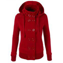 Causal Warm Double Breasted Solid Color Hoodie -
