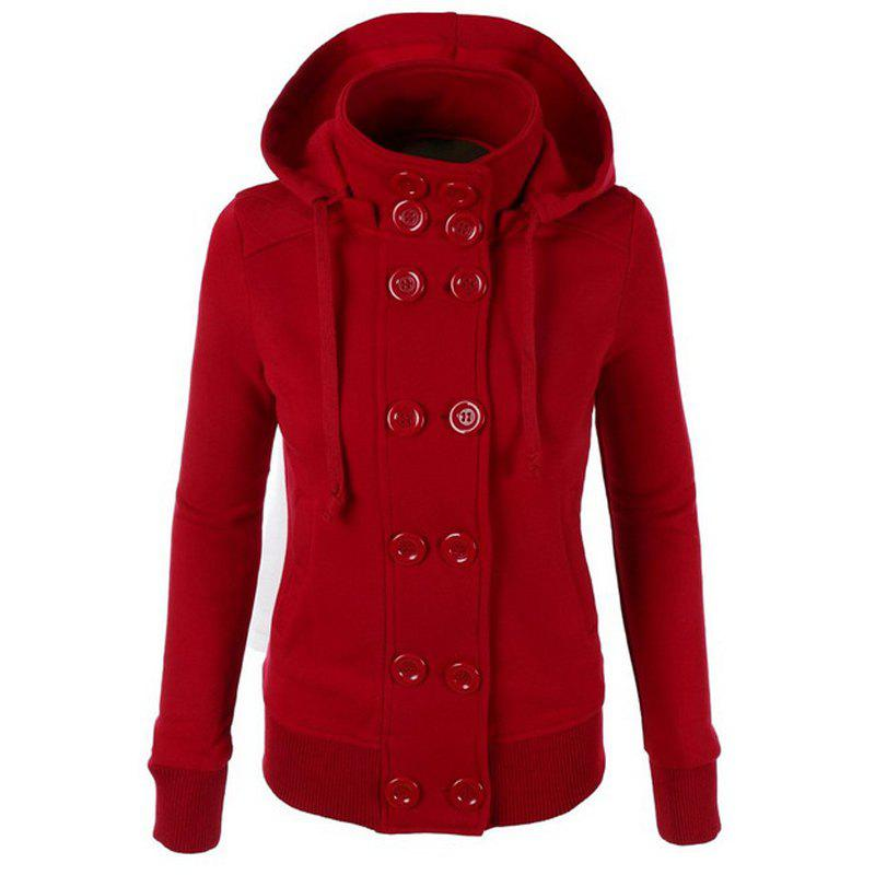 Cheap Causal Warm Double Breasted Solid Color Hoodie