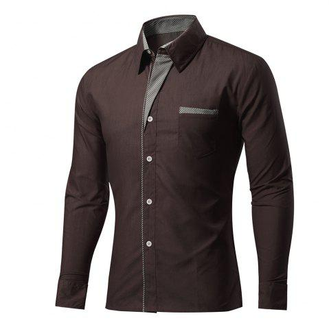 Mens Placket Color Matching Plus Size Spring Long Sleeve Solid Color Shirt