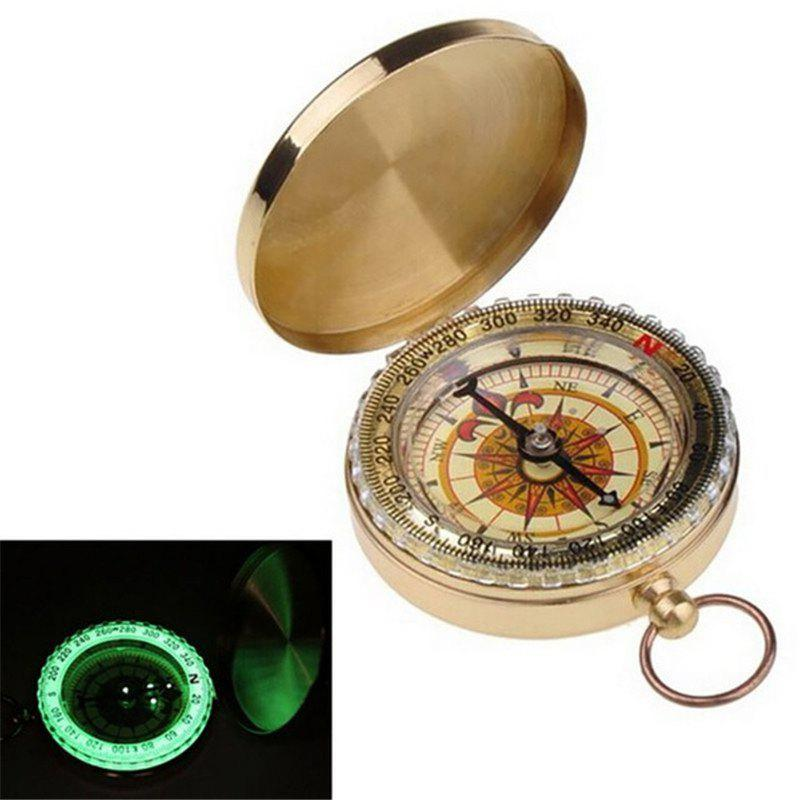 Latest Camping Hiking Portable Brass Pocket Golden Compass Navigation for Outdoor Activities