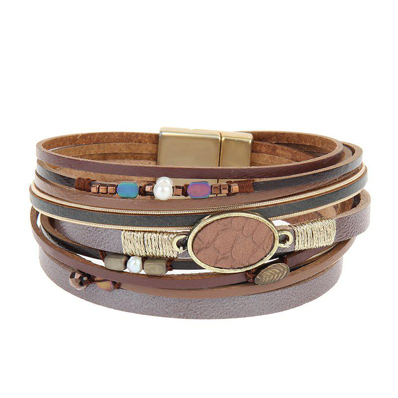 Cheap Hot Selling New Fashion Personality Trend Multilevel Cowhide Coloured Bracelet
