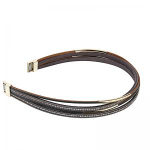 Hot Selling New Fashion Personality Multilevel Cowhide Alloy Crystal Bracelet -