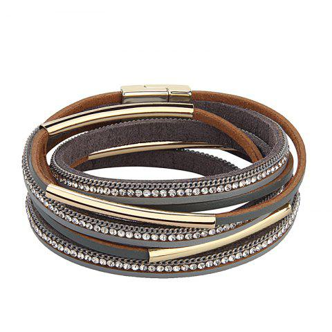 Buy Hot Selling New Fashion Personality Multilevel Cowhide Alloy Crystal Bracelet