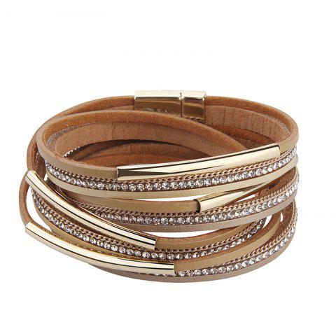 Sale Hot Selling New Fashion Personality Multilevel Cowhide Alloy Crystal Bracelet