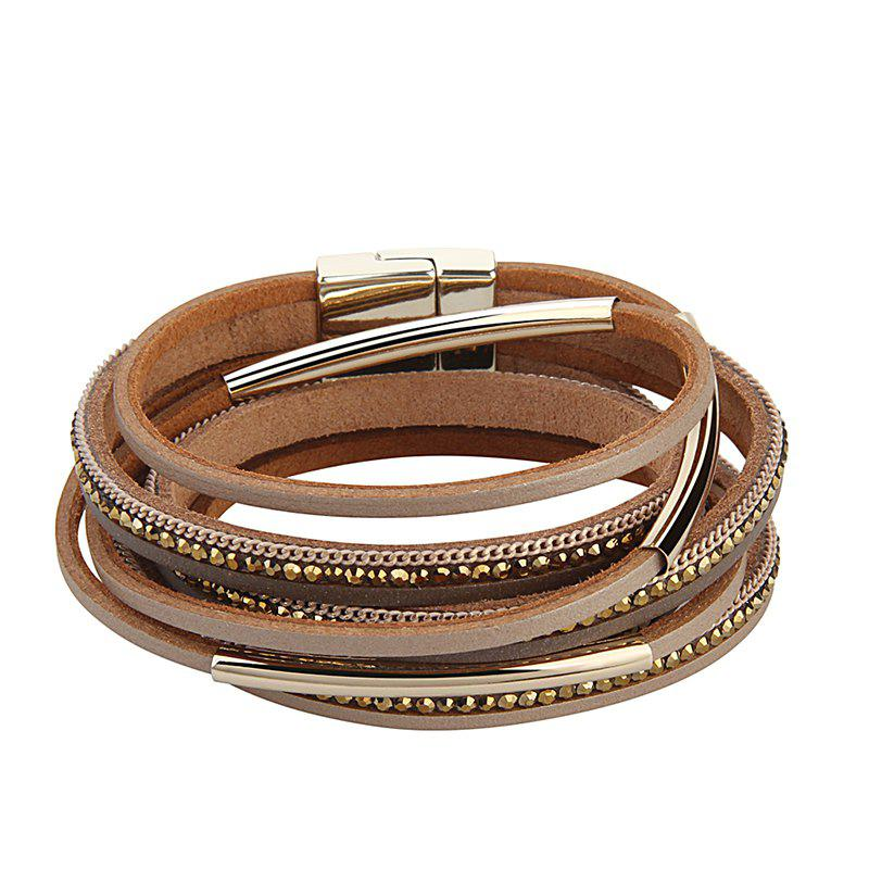 Hot Hot Selling New Fashion Personality Multilevel Cowhide Alloy Crystal Bracelet