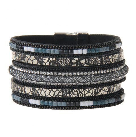 Hot Hot New Fashion All-match Multi-Level Leather Nets Diamond Bracelet