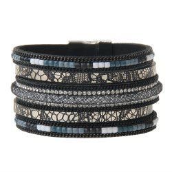 Hot New Fashion All-match Multi-Level Leather Nets Diamond Bracelet -