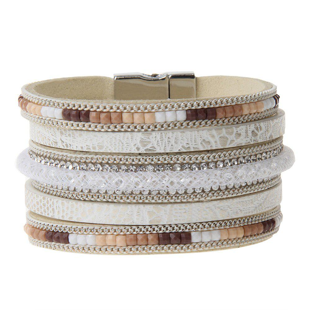 Online Hot New Fashion All-match Multi-Level Leather Nets Diamond Bracelet