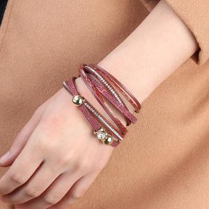 Hot Sale New Fashion Summer Wind Personality Multi Level Two Laps Crystal Hand Chain -
