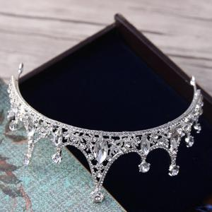 Wedding Bride Silver Crystal Crown Headband Hair Jewelry -