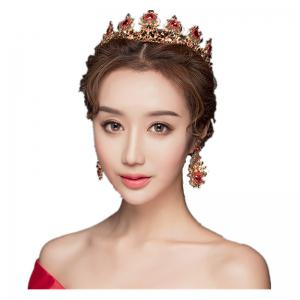 Gold Plated Red Crystal Crown and Pair of Earrings Jewelry Set -
