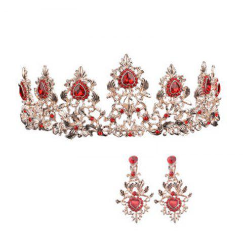 Hot Gold Plated Red Crystal Crown and Pair of Earrings Jewelry Set