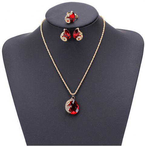Shops Women Girls Jewelry Set Crystal Rhinestone Pendant Necklace Earrings and Ring Trendy Ornament Gifts