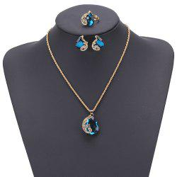 Women Girls Jewelry Set Crystal Rhinestone Pendant Necklace Earrings and Ring Trendy Ornament Gifts -