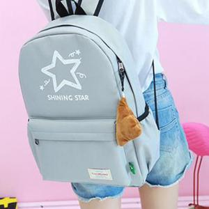 Printed Five Pointed Star Canvas Backpack -