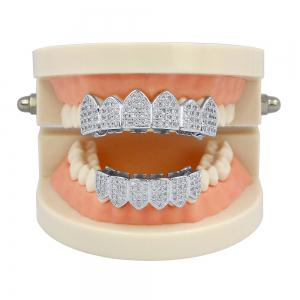 18K Gold Silver Plated Micro Pave CZ Stone Teeth Grillz -