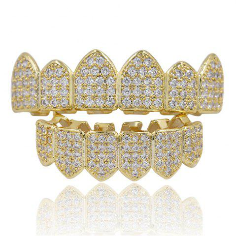 Latest 18K Gold Silver Plated Micro Pave CZ Stone Teeth Grillz