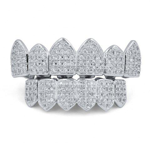 Outfits 18K Gold Silver Plated Micro Pave CZ Stone Teeth Grillz