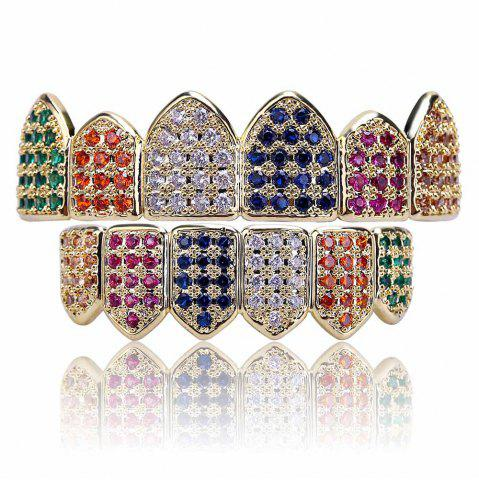 Fancy 18K Gold Silver Plated Micro Pave CZ Stone Teeth Grillz