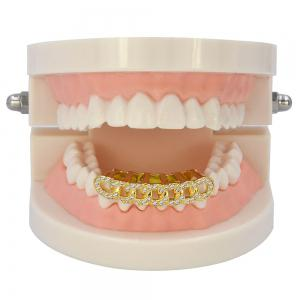 Hip Hop 18K Gold Plated Micro Pave CZ Stone Chain Teeth Grillz -
