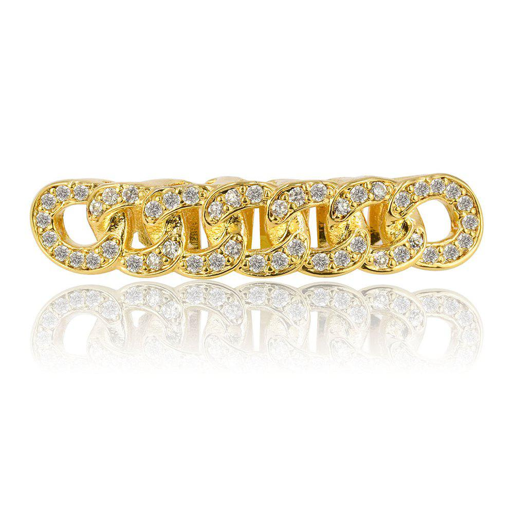 Hip Hop 18K Gold Plated Micro Pave CZ Stone Chain Teeth Grillz