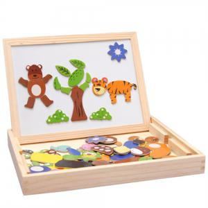 Wooden Educational Toys Magnetic Art Easel Animals Puzzle Games for Kids -