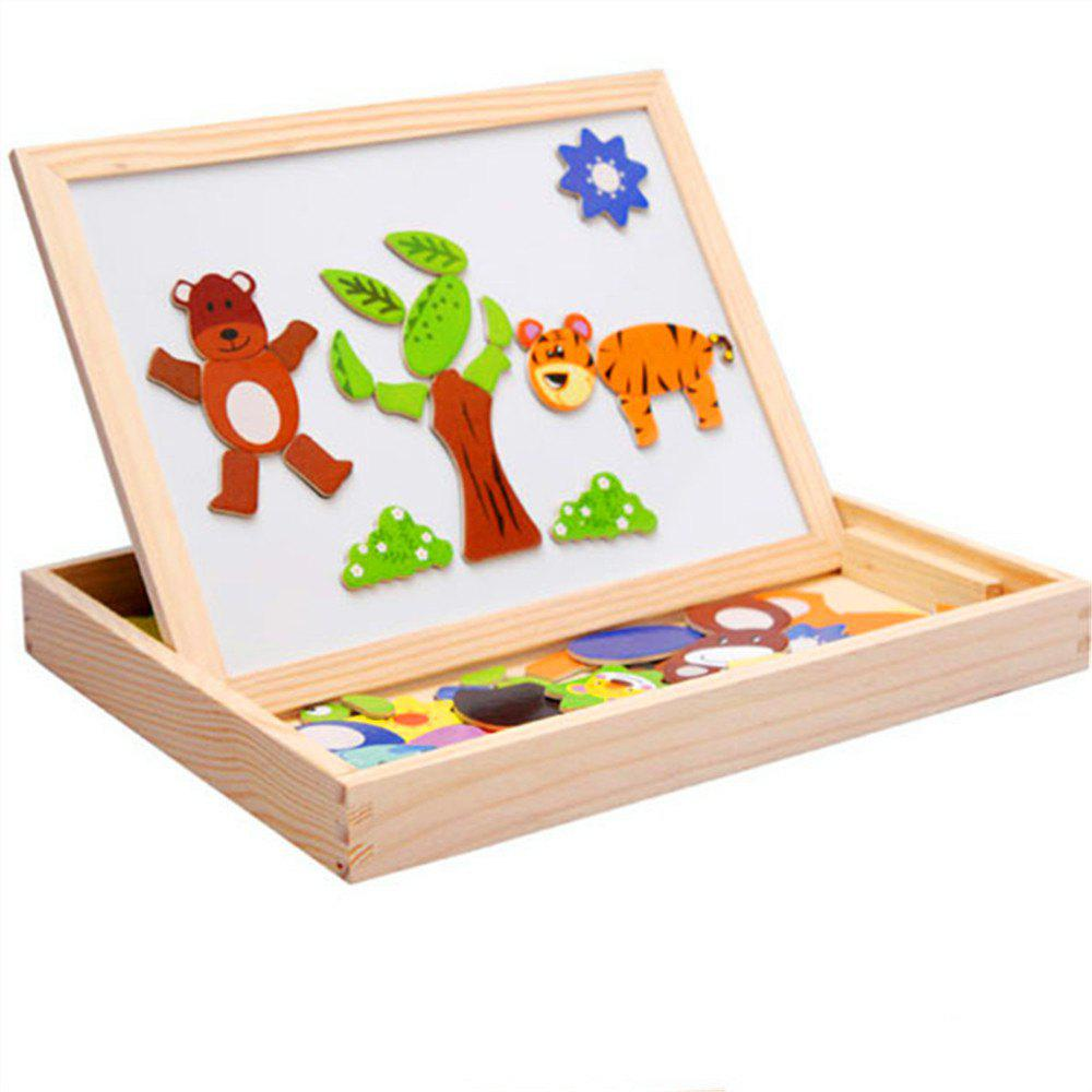 New Wooden Educational Toys Magnetic Art Easel Animals Puzzle Games for Kids