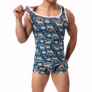 Elk Men's Pure Cotton Tank Tops Suit Tank Top and Boxers -