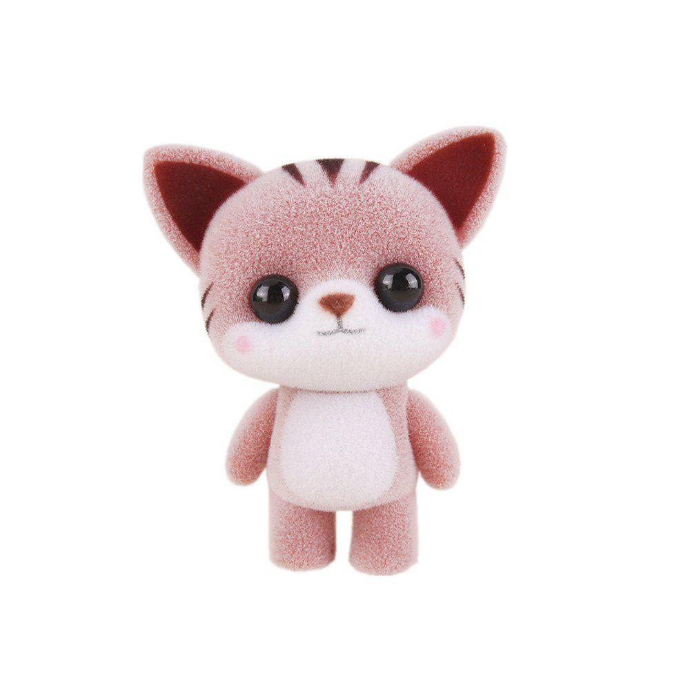 Fashion Mini Lovely Flocking Coffee Cat Doll Furnishing Articles Kids Gift